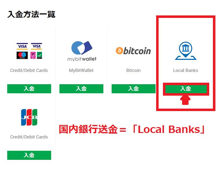入金方法一覧の「Local Banks」を選択