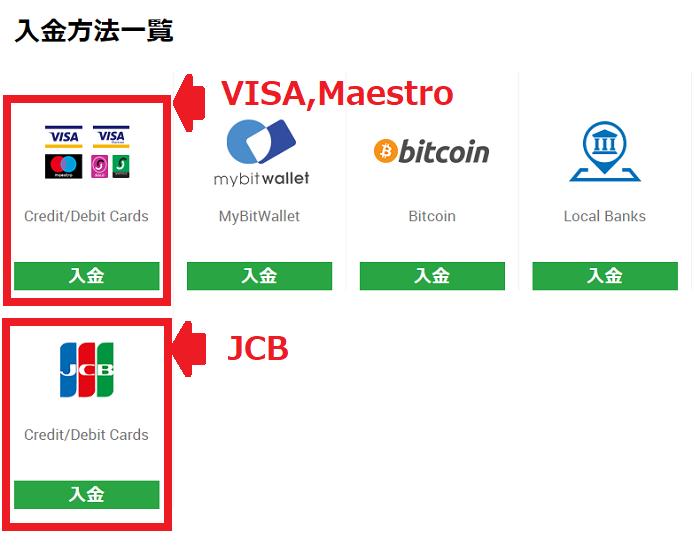 入金に利用するクレジットカードを選択する