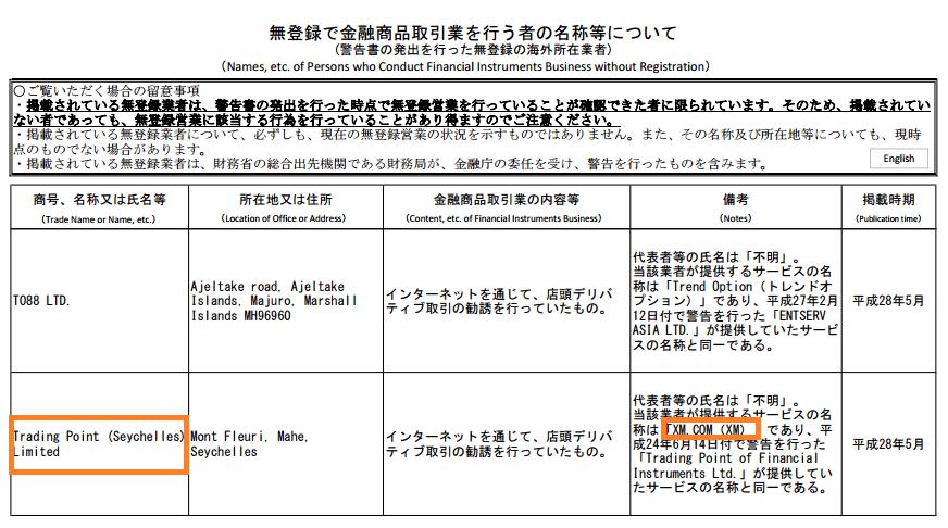 XMは優良業者なのにも関わらず、日本の金融庁の警告を受けている